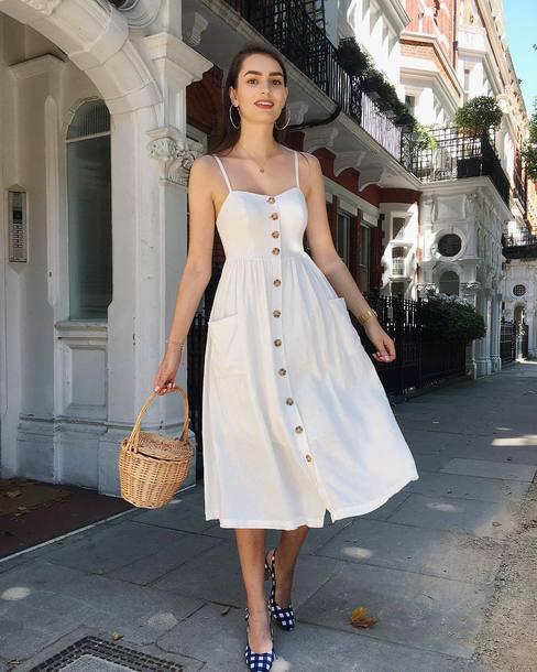 dress white dress midi dress bag shoes