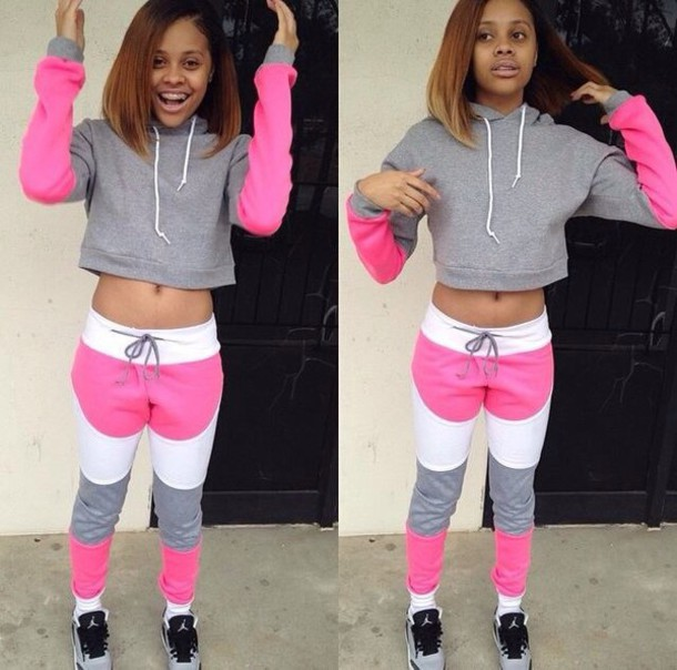 jumpsuit white gray and pink pink grey white two-piece joggers joggers pants jordans ishania tate tracksuit