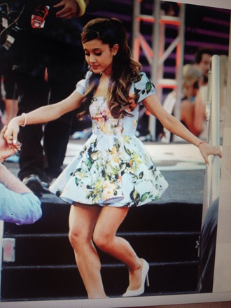 dress skater dress floral dress blue dress blue skater dress floral skater dress ariana grande cute dress floral