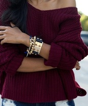 sweater,pullover,oxblood,burgundy,oversized,wide necked,knitted sweater