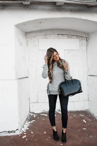mint arrow blogger sweater shoes jeans bag handbag givenchy bag grey sweater booties