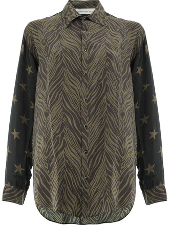 shirt long sleeve shirt long women print black silk top