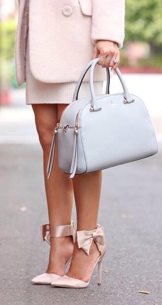 pastel baby pink bag baby pink high heels high heels classy