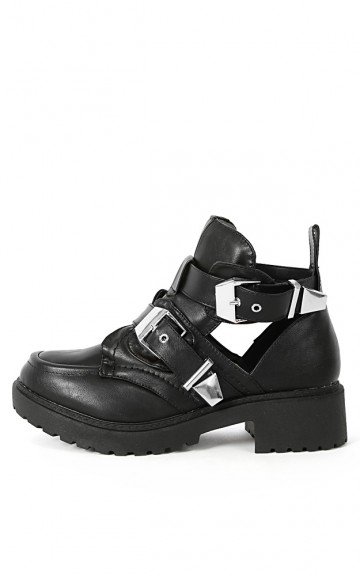 Clista-1 Leatherette Buckle Cut Out Boots | MakeMeChic.com