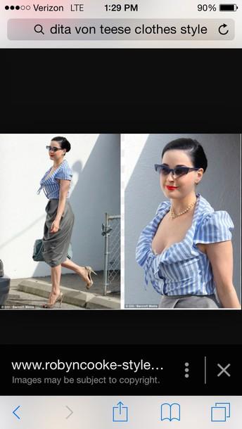blouse dita von teese blue shirt