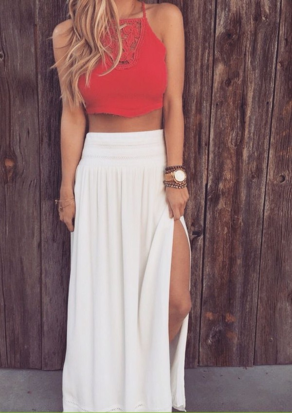 skirt top long white skirt red top halter top crochet top maxi maxi skirt crochet boho style slit maxi skirt cute top crop tops outfit cute outfit for teens dress red white cute cute outfits summer shirt pink orange coral white maxi slit orange summery crop