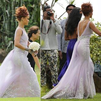 dress gown prom dress wedding dress rihanna lace