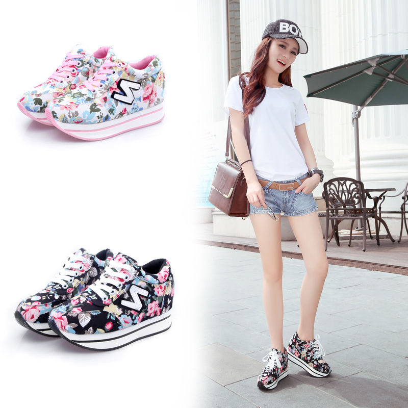 Women fashion platform sneaker letter n floral&lace casual sports running shoes
