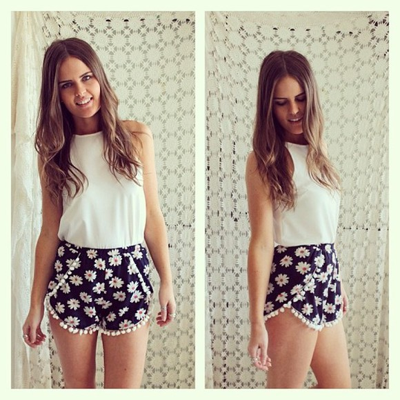 shirt adorable cute shorts tumblr floral trending