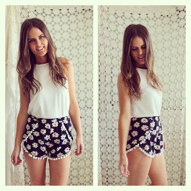 Shorts: cute, floral, tumblr, shirt, lovely, trendy - Wheretoget