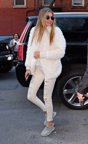 coat,gigi hadid,fuzzy coat,white fluffy coat,white coat,winter outfits,sunglasses,round sunglasses,sweater,white sweater,jeans,white jeans,ripped jeans,white ripped jeans,sneakers,all white everything,white winter outfit,yeezy,gigi hadid style,gigihadidstyle,victoria's secret model,model style,streetstyle,designer,blonde hair,where did u get that,need ,white fur coat
