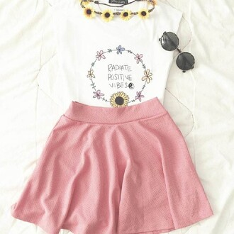 tank top positive vibes cute shirt pretty skirt pink hat jewels skater skirt radiate positive vibes t-shirt hipster white daisy butterfly sunflower yin yang quote on it flower crown hair accessory pink skirt top