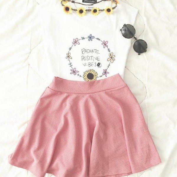 tank top positive vibes cute shirt pretty skirt pink hat jewels skater skirt radiate positive vibes t-shirt hipster white daisy butterfly sunflower yin yang quote on it flower crown t-shirt