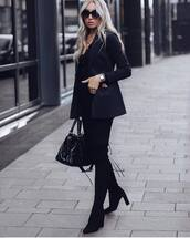 shoes,black boots,high heels boots,suede boots,skinny jeans,blazer,handbag,black blouse,sunglasses