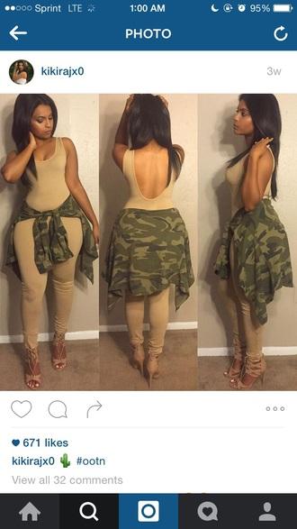 jumpsuit nude bodysuit camouflage