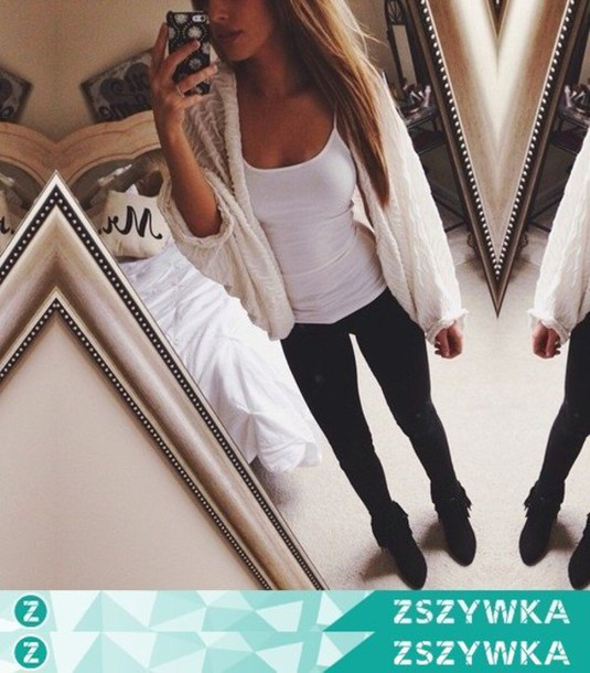 0adbde65f9 cardigan clothes white girl fashion style black shoes white cardigan  perforated white cardigan outfit leggings black