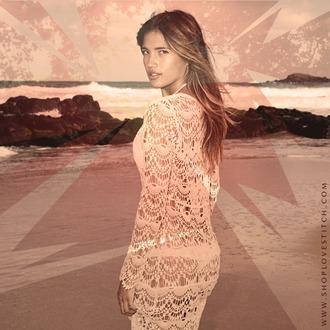 dress lovestitch crochet crochet doily white dress beach festival music festival california dream coachella