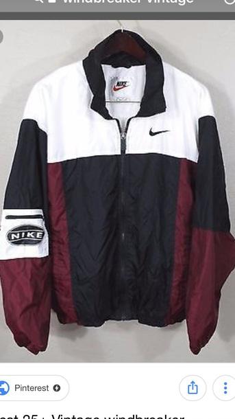 jacket red white black nike windbreakaker