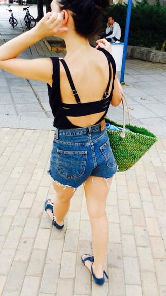bag green High waisted shorts lee jeans green bag beach bags summer bag summer shorts shirt