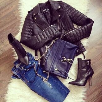 jacket biker jacket leather jacket perfecto leather coat black jeans shoes