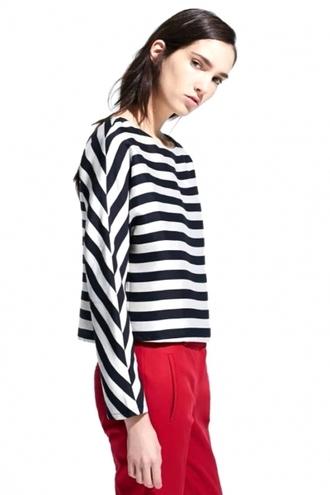 blouse black and white strips horizontal stripes