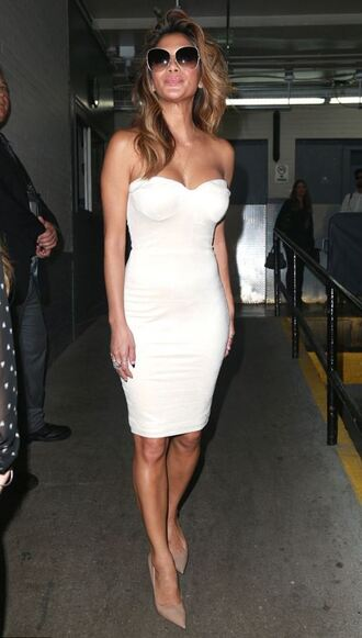 dress strapless bustier dress nicole scherzinger white dress midi dress summer dress