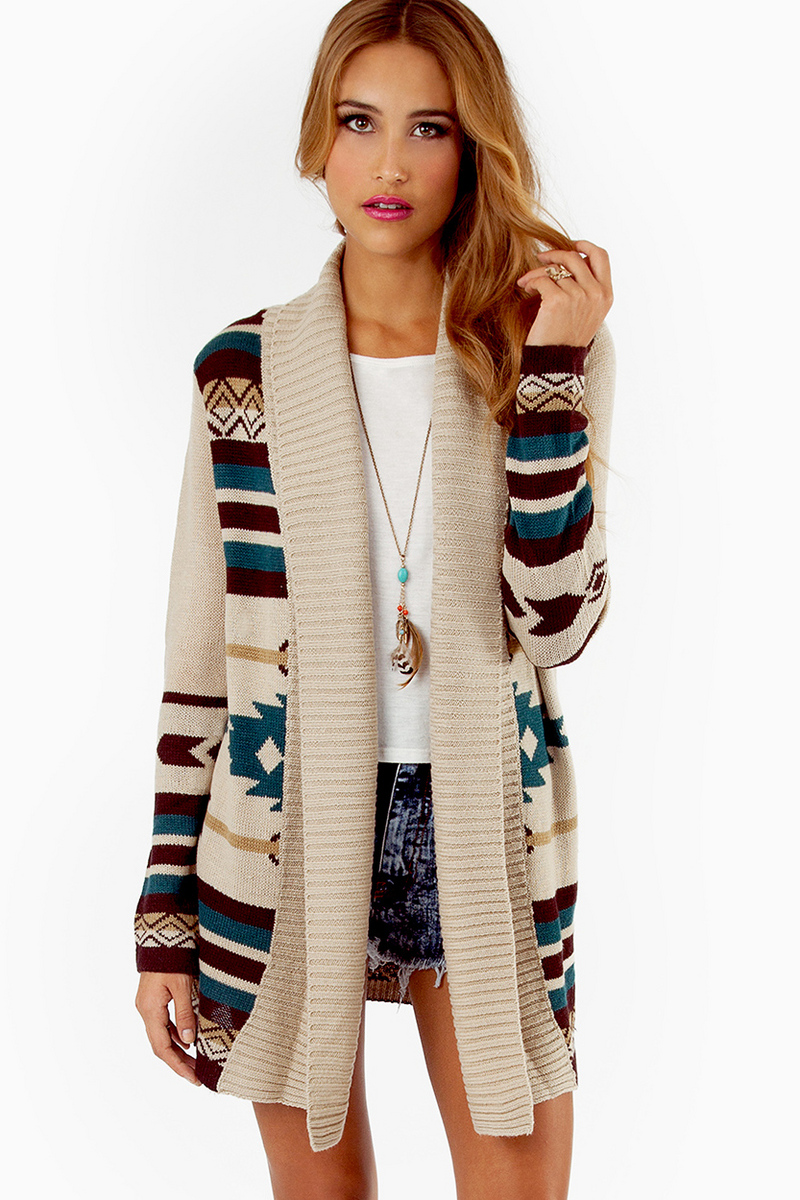 Tribal cardigan - Comfortable thick long sleeve cardigan. Charlotte Russe three quarter sleeves tan and white striped cardigan. I never see my self wearing it anymore and there are two front pock.