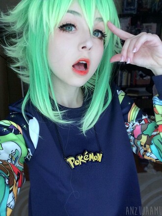 hair accessory green wig gumi sweater women wigs pok?mon cute jewels pokemon teenagers