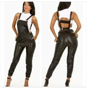 jeans,pants,leather black jumpsuit,leather leggings,black leather pants,leather pants,black,cute,sexy,spring outfits,aliexpress,fashion spot,2014 trends,jumpsuit,overalls,perfecto,faux leather pants,jumper,black leather overalls
