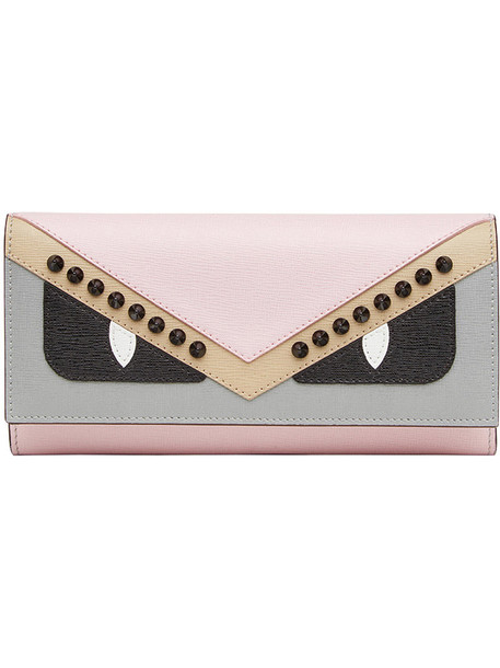 Fendi - Bag Bugs studded purse - women - Calf Leather/Acrylonitrile Butadiene Styrene (ABS) - One Size, Pink/Purple, Calf Leather/Acrylonitrile Butadiene Styrene (ABS)