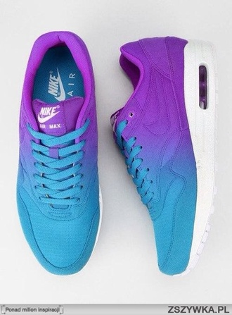 shoes purple blue ombré nike nike shoes bright neon cute air max air max air max 90 perfect stylish running shoes sportswear excersise it's bike just do it light blue