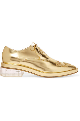 metallic embellished leather gold shoes