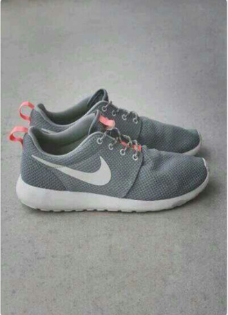 shoes nike roshe run nike grey grey sneakers nike running shoes roshe runs grey coral white  womens. roshe runs
