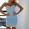 Sea lion corset dress pale blue
