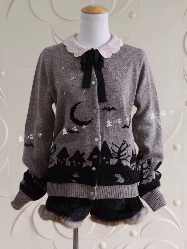 Cardigan Sweater Spopola Spooky Creepy Moon Halloween Grey Grey Blouse Creepy Cute