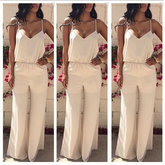 jumpsuit v neck halter neck high waisted loose white orange sexy jumpsuit lady girl fashion pants long jumpsuit sleeveless sleeveless jumpsuit ring watch summer gorgeous gorgeous jumpsuit summer outfits charming