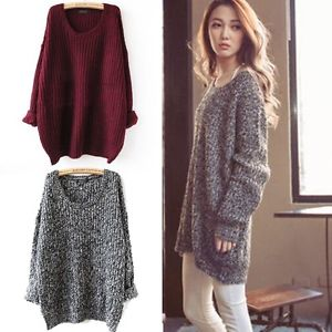 Winter Oversized Knitted Sweater Batwing Sleeve Tops Cardigan ...