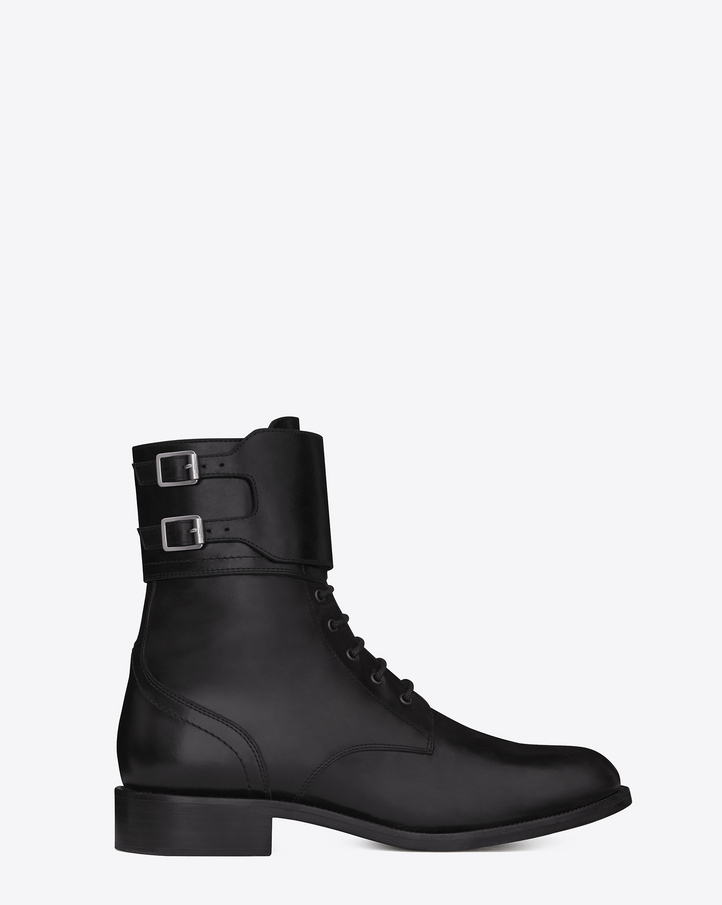 Saint laurent signature patti lace up buckle bootie in black leather