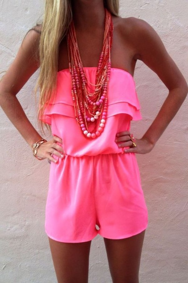 dress romper pink neon strapless ruffle