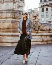 bag,crocodile,handbag,chain bag,midi skirt,pleated skirt,jumper,blazer,mules,sunglasses