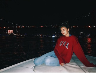 sweater red hoodie usa taylor hill