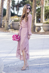 chicstreetstyle,blogger,jewels,dress,midi dress,pink dress,romantic dress,monochrome outfit,midi wrap dress,sunglasses,tumblr,maxi dress,long dress,asymmetrical,asymmetrical dress,ruffle,ruffle dress,flowers,sandals,high heel sandals,sandal heels,nude sandals,long sleeves,long sleeve dress,wrap dress,long hair