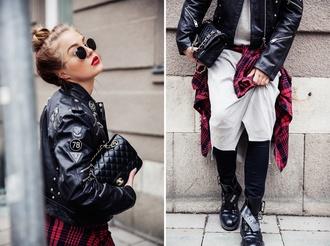 angelica blick blogger rock leather jacket flannel shirt sunglasses dress shoes jeans shirt bag
