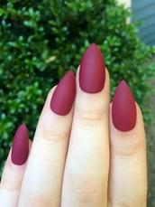 nail polish,burgundy,matte,matte nail polish,maroon nails,nails,fake nails,pointy nails,acrylic nails,finger nails