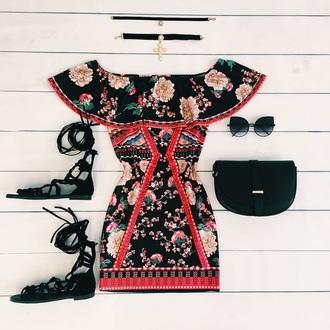 dress black floral dress off the shoulder dress black dress floral dress