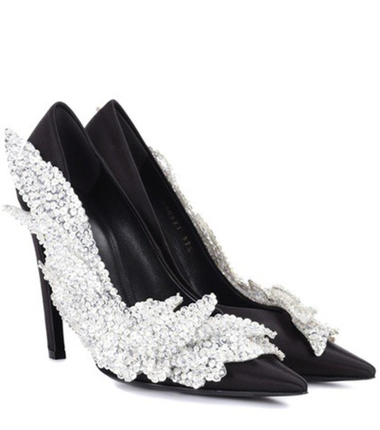 Balenciaga embellished pumps satin black shoes