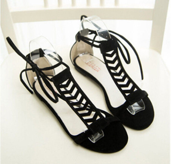 gypsy boho festival coachella shoes black sandals cut-out cut-out chic casual gladiator sandals sandals arrow cute velvet