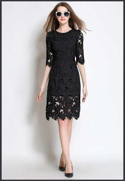 Classy Lace Boutique Dress - Pink/ White/ Black