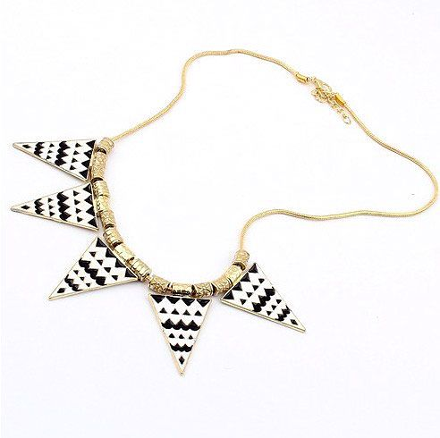Retro Black And White Geometric Triangles Bib Necklace,Made Of Alloy - DualShine