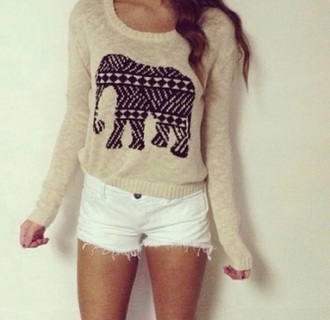 top beige aztec elephant cute fashion adorable sweet style gorgeous sweater adorable shorts white sweater white top beige top and beige shoes beige sweater native american african print animal print animal animal clothing bag